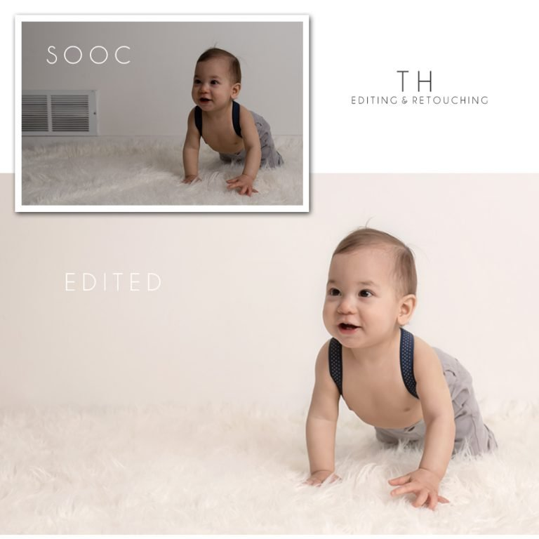 North Vancouver Newborn Photographer Before and After picture example of editing a photo a of a baby boy