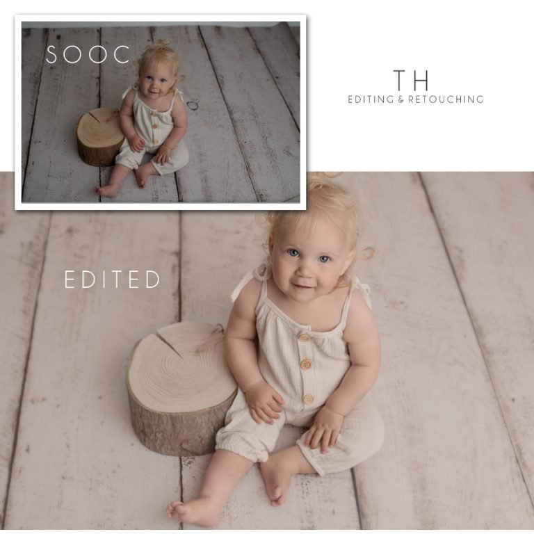 North Vancouver Newborn Photographer Before and After picture example of editing a photo a of a baby girl