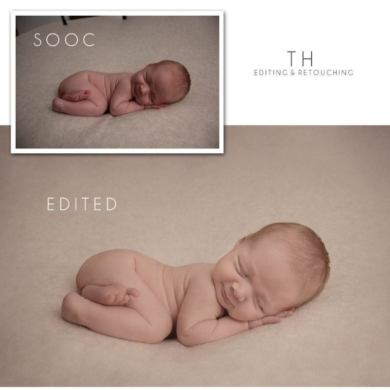 North Vancouver Newborn Photographer Before and After picture of a newborn photo