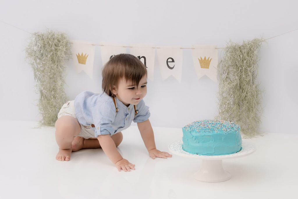 North Vancouver Photography Studio - Cake Smash - First Birthday Boy crawling towards a blue cake with sprinkles