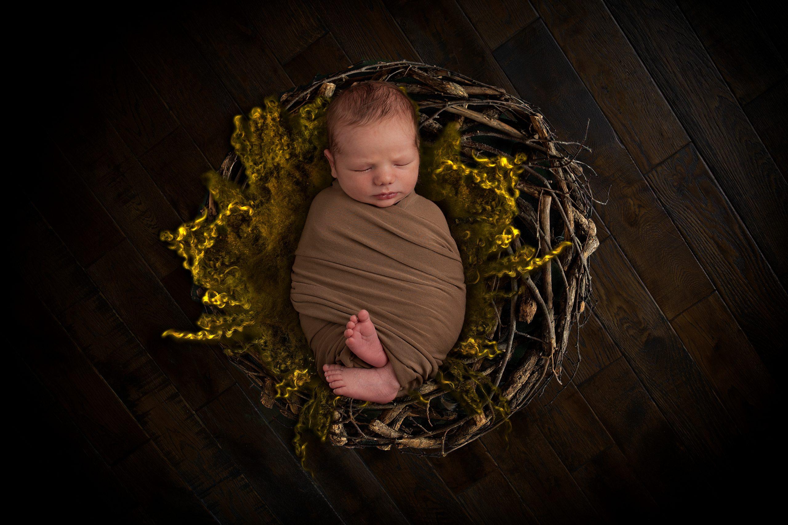 Newborn Photographer North Vancouver - Wrapped Newborn Baby boy sleeping in a wreath