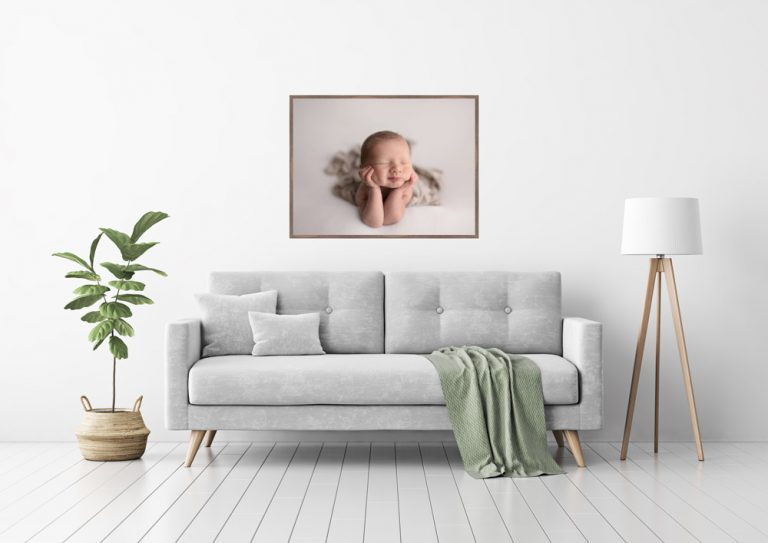 Wall Art Example - Living room with an example framed newborn picture
